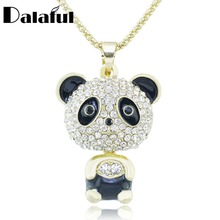 Stylish Panda Necklace Shining Crystal Black Enamel Long Chain Necklaces Pendants For Women M312