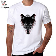 ZiLingLan Cotton Short Sleeve Casual Man Clothes White t shirts Men Tops Tees Shirts Wolf Deer T Shirt O Neck Tops Us/Eur Size(China)