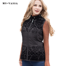 New women vest Spring vest with flock stand up collar with button zipper pockets in seam plus over size S-7XL high quality
