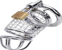Buy Sex Toys Cock Cage Ball Stretcher Condoms Penis Rings Stainless Steel Male Penis Chastity Cage Devices Sex Products.