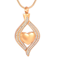 CMJ8111 Golden Keepsake Memorials Jewelrys With Crystal Inlay Forever In My Heart Ash Holder Cremation Pendant(China)