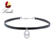 Sexy 925 Sterling Silver Choker Necklace For Women Vintage High Quality Real Natural Pearl Jewelry Fashion Leather Chocker Party(China)