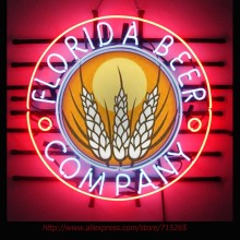 Florida Beer Company Neon Bulbs Neon Sign Real Glass Tube Handcrafted Shop Advertising Neon Lamp Bulb Indoor Motel Sign 24x24(China)