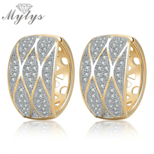 Mytys Hollow Flower Pattern Drop Earrings For Young Lady Girls And Women Jewelry New Arrival Gift Crystal Pave Setting CE223(China)