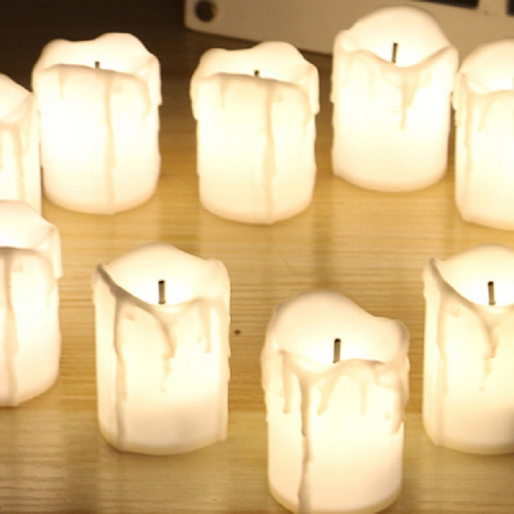 12 PCS of LED Electric Battery Powered Tealight Candles Warm White Flameless for Holiday/Wedding Decoration 4