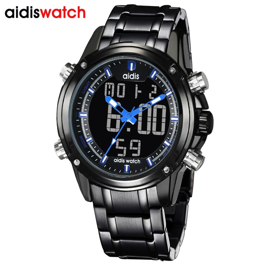 2018 Full Steel Black Watch Mens Military Sport Wristwatch Led Digital Back Light Watches Waterproof Men Relogio Masculino<br>