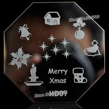 Merry Christmas fashion design octagonal steel nail stamping printing templates Bell HD09(China)