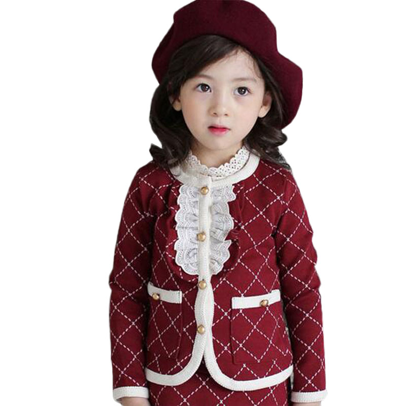 New Autumn Winter Kids Clothes Baby Girls Clothing Set Plaid Long Sleeve Coat With Skirt Suit New Year Costumes For Children<br><br>Aliexpress