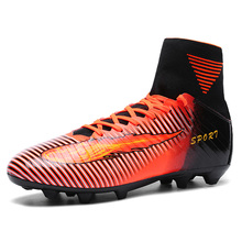 2017 New wen Football Soccer Boots With Ankle Turf Soccer Shoe Leather Big Size High Top Soccer Cleats Training Football Sneaker(China)