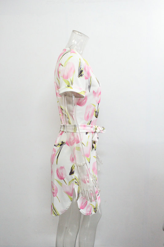2018 Spring Summer Printed Women Dress O-Neck Hem Side Split Ladies Dresses Tie Sashes Short Sleeve Casual Sexy Female Vestidos 18