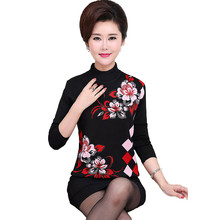 2017 New Autumn Winter Fashion Sweaters Women Stand Collar Flower Print Long Sleeve Knitted Shirts Slim Elegant Pullovers AA415