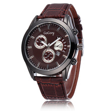 Hot Sales Gogoey Brand leather Watch men fashion sports Quartz wrist watch with Date Hour Clock Relogio Masculino GO073