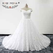 Rose Moda French Lace Ball Gown Off Shoulder V Neck Church Wedding Dress Plus Size with Royal Train Lace Up Back Real Photos(China)