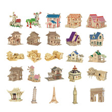 Chanycore Baby Learning Educational Wooden Toys 3D Puzzle Building House Villa Windmill Waterwheel Tower Chinese Kids Gifts 4308