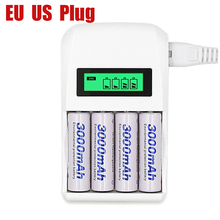 White small  battery charger 1.2V quick AA AAA 4 slots Smart Intelligent battery charger with LCD display EU US AU Plug
