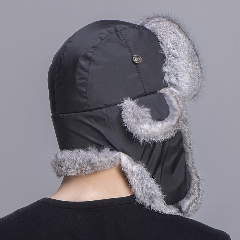 rabbit fur trapper hat grey black 1