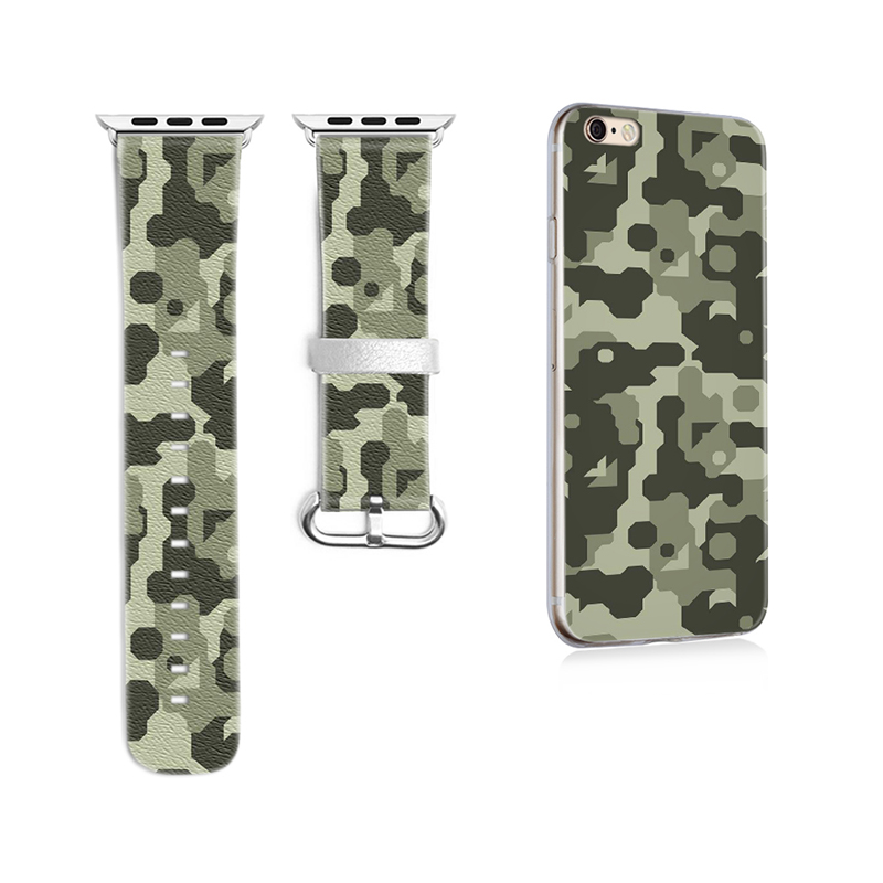 Band for Apple Watch Band Custom Camouflage Pattern Genuine Leather for Iwatch Series 1 2 3 Band 38mm 42mm Gifts for IPhone Case<br>