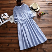 2017 New Spring Long Cotton Vestidos Women's Long Sleeved Clothing Japanese Mori Girl Striped Shirt Dress Women Vintage Dresses(China)
