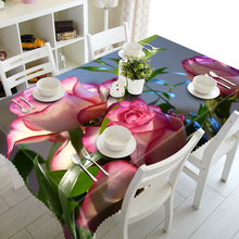 3D Tablecloths Pink Roses Printing Waterproof/oil-proof Washable Thicken Rectangle Dining Table Tea Table Cloth - T056