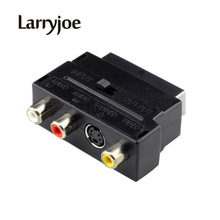 Larryjoe Hot Selling RGB Scart to Composite 3RCA S-Video AV TV Audio Adapter or Video DVD Recorder TV Television Projector