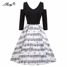 iPretty Vintage Musical Note Floral Print Women Dress Spaghetti Strap Half Sleeve Splicing Swing Dress 2017 Pin up Party Dress(China)