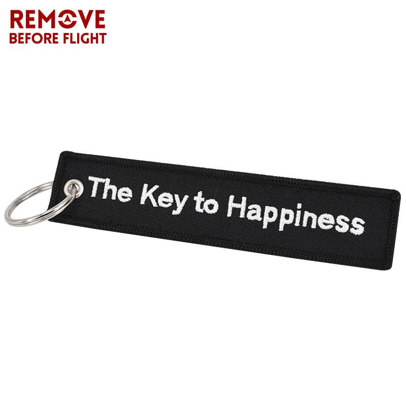 The Key to Happiness Key Chain Bijoux Keychain for Motorcycles and Cars Gifts Key Tag Embroidery Key Fobs OEM Key Ring Bijoux (1)