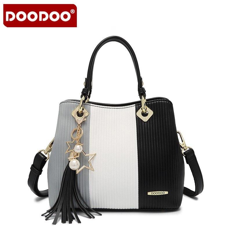 DOODOO Famous Designer Handbags 2017 New Stripe Hit Color Fashion Female Handbag High Quality Womens Office Bags<br>