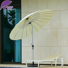 Patio 8.2 Ft Market Outdoor Aluminum Table Umbrella Cafe Beach Round with Push Button Tilt and Crank Chinese style without base(China)