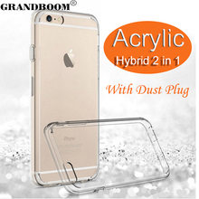 GRANDBOOM Slim Transparent Clear Acrylic Soft TPU Shockproof Hard Case Cover for iPhone 7 Plus 6 6S 5 5S With Dust Plug 100pcs