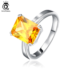 ORSA JEWELS 2017 New Arrival 4 ct Princess Cut Yellow Zircon Vintage CZ Ring Hot Selling Silver Color Rings for Ladies OR59