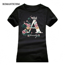 Buy Romanticism letter pyrography t shirt women fashion summer slim t-shirt girls brand clothing femme tops girls tees for $4.59 in AliExpress store