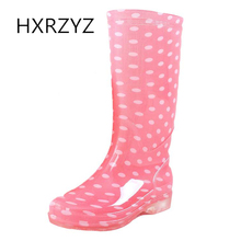 HXRZYZ women rain boots female jelly rubber ankle boots spring/autumn new fashion printing Slip-Resistant waterproof shoes women(China)