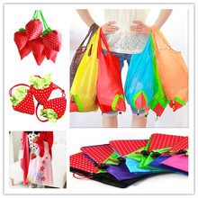 Reusable Strawberry Shopping Bag Grocery Bags Tote Environmental Folding Pouch Handbags Convenient Bags Storage Bag Color Random