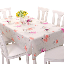 RUBIHOME Square PVC Tablecloth Printed Pink Flower Rose Floral Yellow Geometry Design Table Cover Waterproof Home Decorative