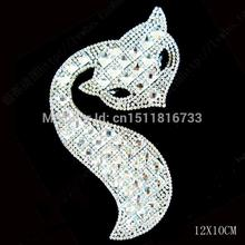 Custom! Fox Brand LOGO Design Hotfix rhinestones transfers iron on Motifs 10Pcs/Lot Lowrie Crystal Strass Applique