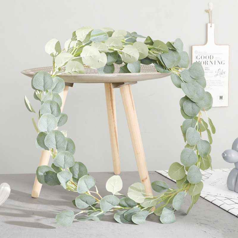 180cm Artificial Eucalyptus Silk Silver Dollar Eucalyptus Hanging Garland Greenery Plant Wedding Party Decor Home Table Decor