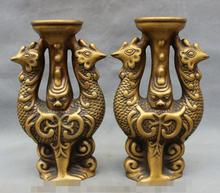 "SCY S06642 10"" Chinese Bronze Peacock Phoenix Lion Head Statue Candle Stick Holder Pair discount 30% (C0324)(China)"