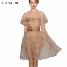 HIGH Quality Newest Fashion 2017 Summer Runway Dress Women's Batwing Sleeve Luxury Sequined Organza Vintage Ball Gown Dress