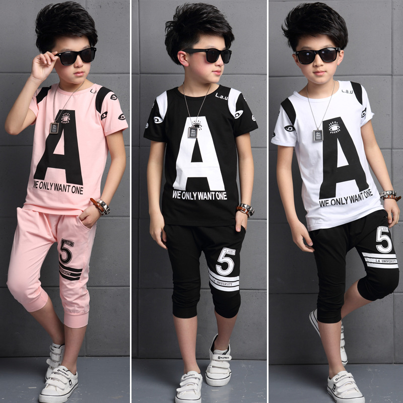 2016 The New Leisure Virgin Suit Boys Summer Two-piece Cuhk Childrens Cotton Kind Of Blended High Quality Wear<br><br>Aliexpress