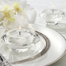 Free Shipping Wedding Gifts Crystal Diamond Shape Candle Holder for Table Decoration 2PCS/LOT(China)