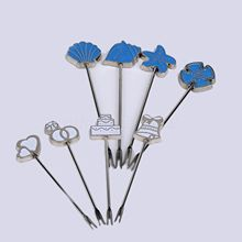 4pcs Steel Snack Fruit Dessert Food Cooktail Forks Party Ornament Table Decor Boxed Gift Home Functional Fruit Forks Blue/White(China)