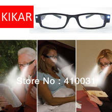 +1.0 Strength KIKAR Fashion LED Reading Glasses w/ Plastic Case Night Reader Eye Light Eyeglass Spectacle Toys Diopter Magnifier(China)