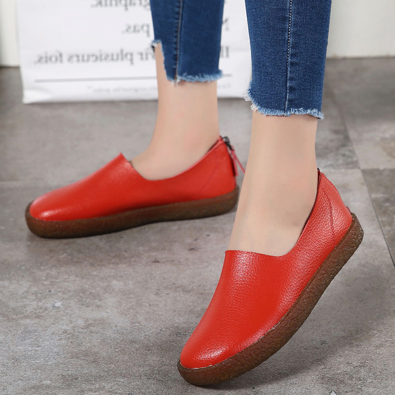 2017 Autumn Women Flats Shoes Zipper Metal Slip On Flat Loafers Leather Shoes Ladies Handmade Rubber Boat Shoes Brand Oxfords