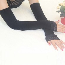 Winter Arm Warmers For Women Black Knitted Fingerless Long Gloves Young Girls Ladies Fashion Lace Arm Sleeve Arm Warmer(China)