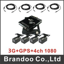 4 channel 1080p SD car DVR kit, with 3G+GPS function, 4 mini HD cameras and 4pcs 5M HD video cable, for bus,taxi used