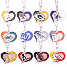 Steelers Ravens Packers Cowboys dolphins Giants Seahawks Broncos Saints Texans Cardinals Chiefs Football Swirl Heart Necklaces(China)