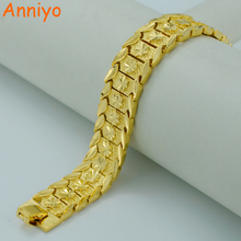 Anniyo 20.5CM,Gold Bracelet for Women/Men Gold Color & Brass,Dubai Bangles Africa Hand Chain Jewelry Ethiopian/Arab #002007(China)