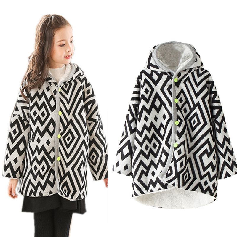 4 to 12 years kids &amp; teenager girls geometric hooded asymmetrical fleece autumn winter jacket children warm fashion coat outwear<br>