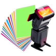 New 12 Pieces Color Card for Strobist Flash Gel Filter Color Balance with Rubber Band Filter Holder Diffuser(China)