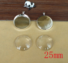 Free shipping!!! DIY Pendant Jewerly finding sets----25mm silver plated round pendant tray+25mm clear glass